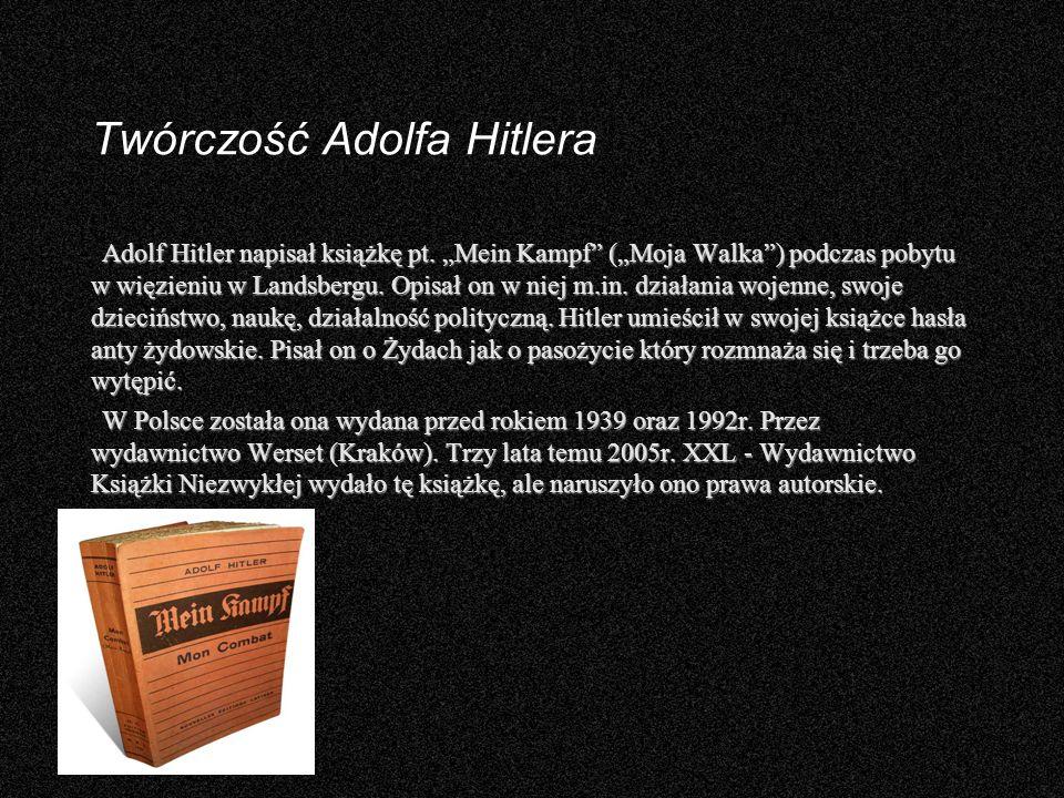 Twórczość Adolfa Hitlera Adolf Hitler napisał książkę pt. Mein Kampf (Moja Walka) podczas pobytu w więzieniu w Landsbergu. Opisał on w niej m.in. dzia