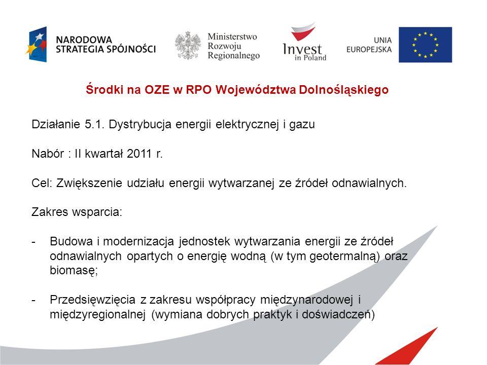Działanie 5.1. Dystrybucja energii elektrycznej i gazu Nabór : II kwartał 2011 r. Cel: Zwiększenie udziału energii wytwarzanej ze źródeł odnawialnych.