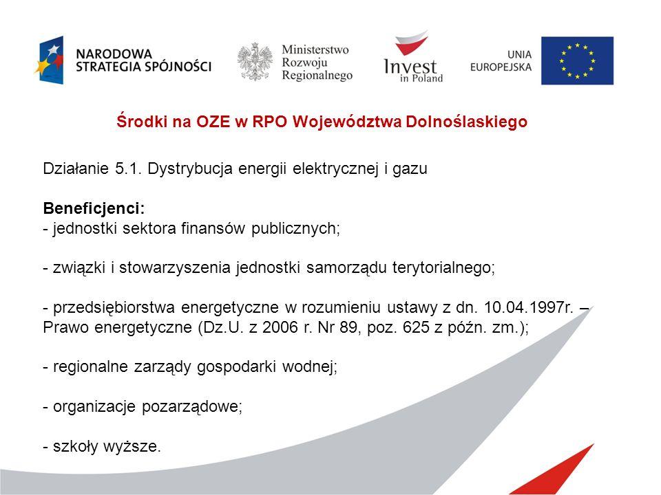 Środki na OZE w RPO Województwa Dolnoślaskiego Działanie 5.1. Dystrybucja energii elektrycznej i gazu Beneficjenci: - jednostki sektora finansów publi