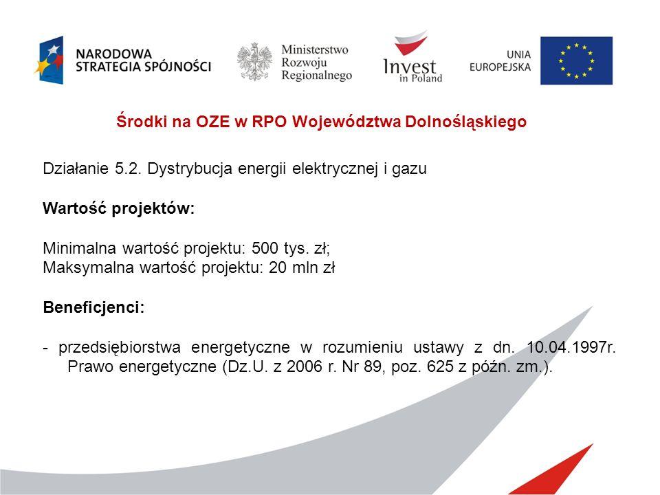 Środki na OZE w RPO Województwa Dolnośląskiego Działanie 5.2. Dystrybucja energii elektrycznej i gazu Wartość projektów: Minimalna wartość projektu: 5