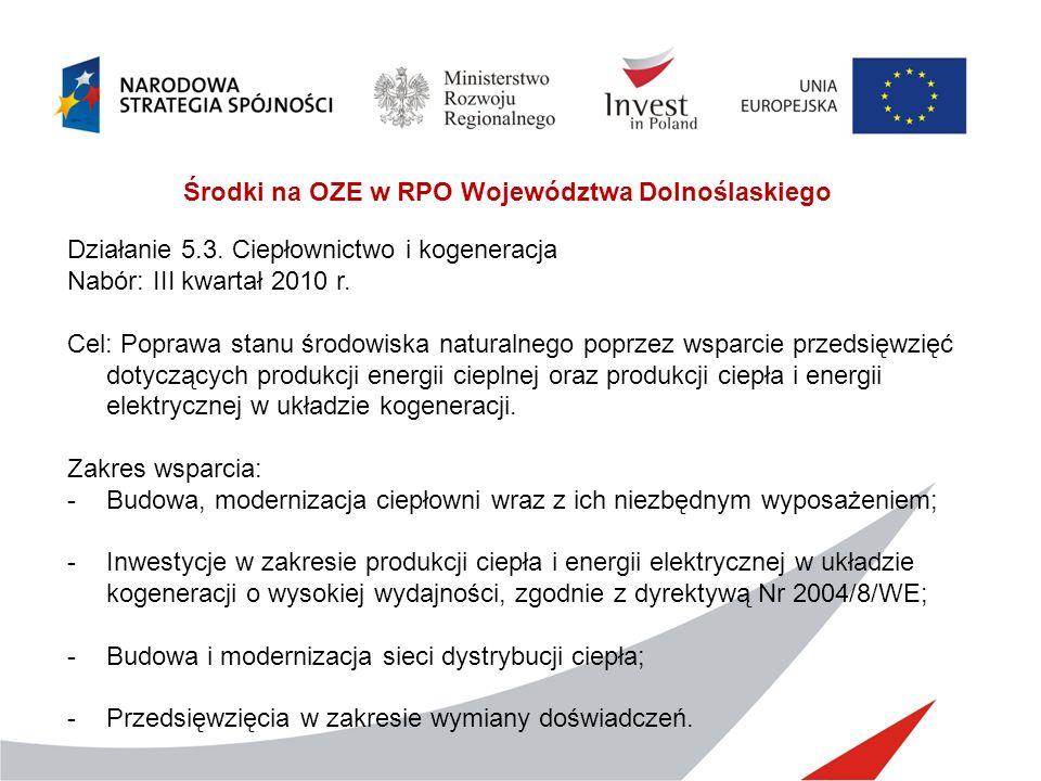 Środki na OZE w RPO Województwa Dolnoślaskiego Działanie 5.3. Ciepłownictwo i kogeneracja Nabór: III kwartał 2010 r. Cel: Poprawa stanu środowiska nat