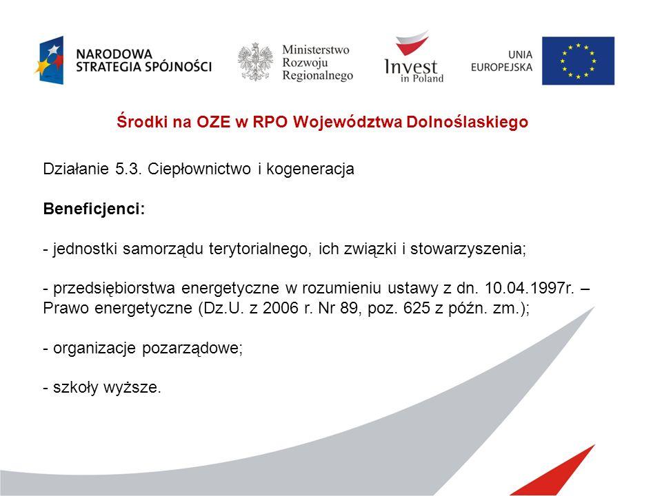Środki na OZE w RPO Województwa Dolnoślaskiego Działanie 5.3. Ciepłownictwo i kogeneracja Beneficjenci: - jednostki samorządu terytorialnego, ich zwią