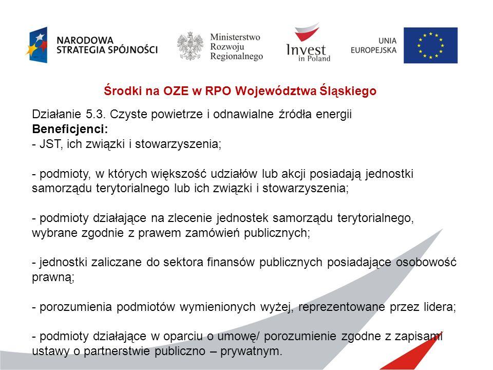 Środki na OZE w RPO Województwa Śląskiego Działanie 5.3. Czyste powietrze i odnawialne źródła energii Beneficjenci: - JST, ich związki i stowarzyszeni