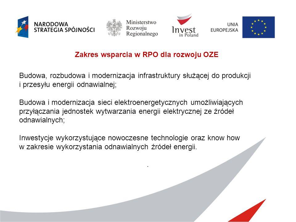 Zakres wsparcia w RPO dla rozwoju OZE Budowa, rozbudowa i modernizacja infrastruktury służącej do produkcji i przesyłu energii odnawialnej; Budowa i m