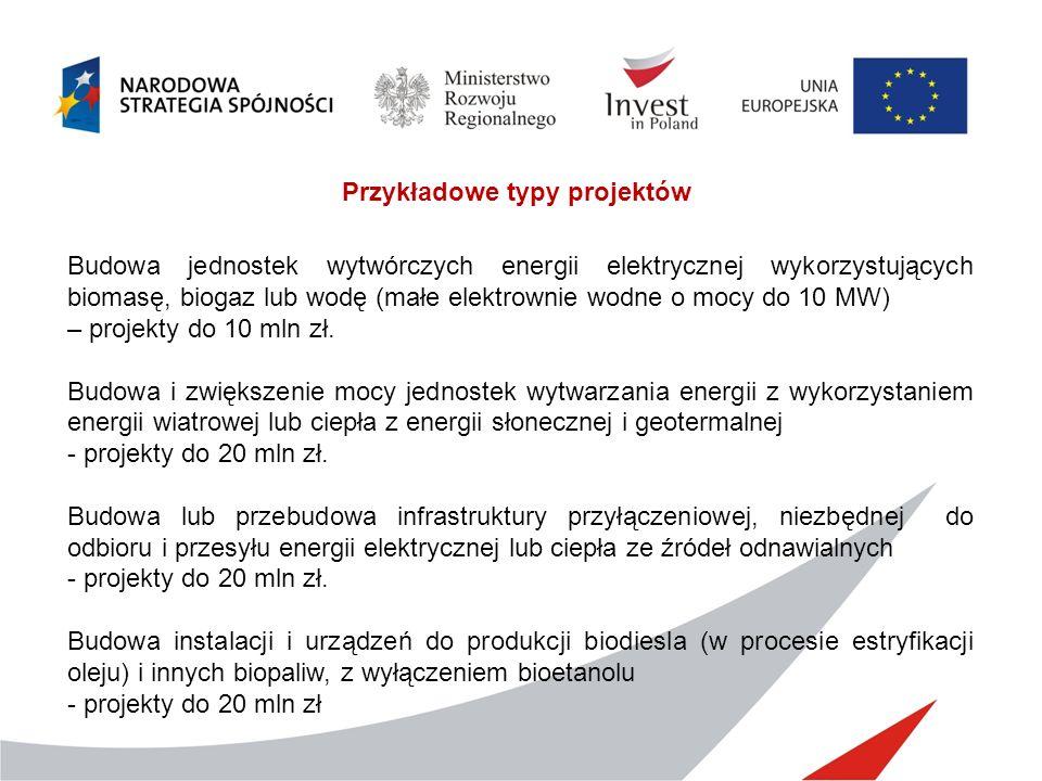 Przykładowe typy projektów Budowa jednostek wytwórczych energii elektrycznej wykorzystujących biomasę, biogaz lub wodę (małe elektrownie wodne o mocy do 10 MW) – projekty do 10 mln zł.