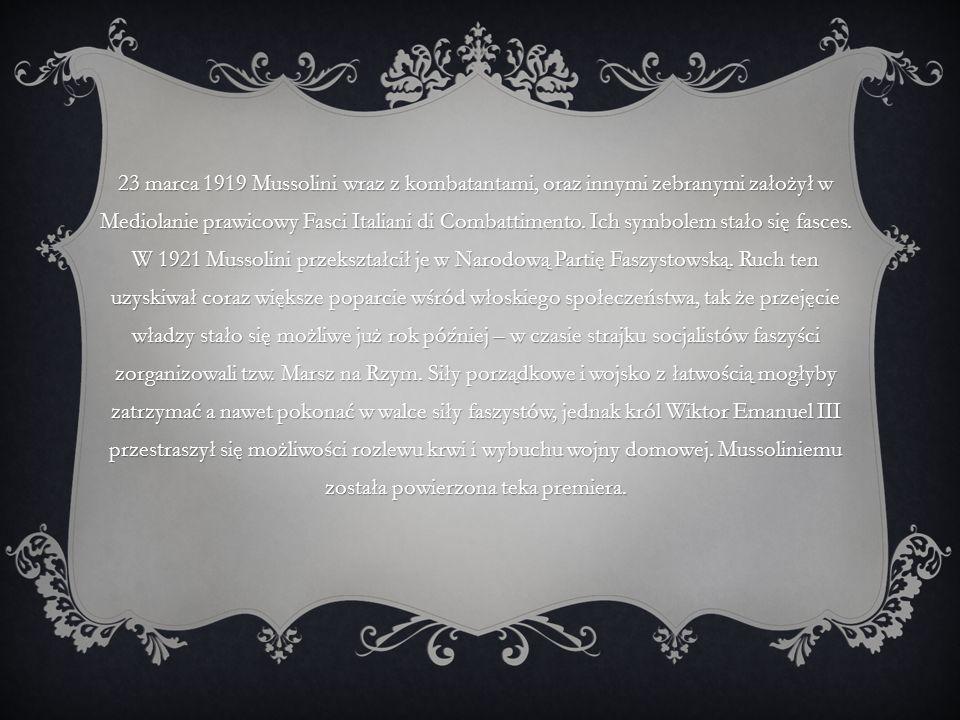 23 marca 1919 Mussolini wraz z kombatantami, oraz innymi zebranymi założył w Mediolanie prawicowy Fasci Italiani di Combattimento. Ich symbolem stało
