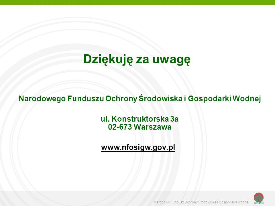 Dziękuję za uwagę Narodowego Funduszu Ochrony Środowiska i Gospodarki Wodnej ul. Konstruktorska 3a 02-673 Warszawa www.nfosigw.gov.pl Narodowy Fundusz
