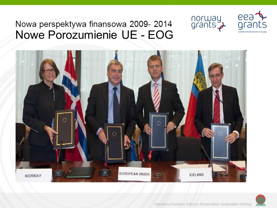 Narodowy Fundusz Ochrony Środowiska i Gospodarki Wodnej Nowa perspektywa finansowa 2009- 2014 Nowe Porozumienie UE - EOG