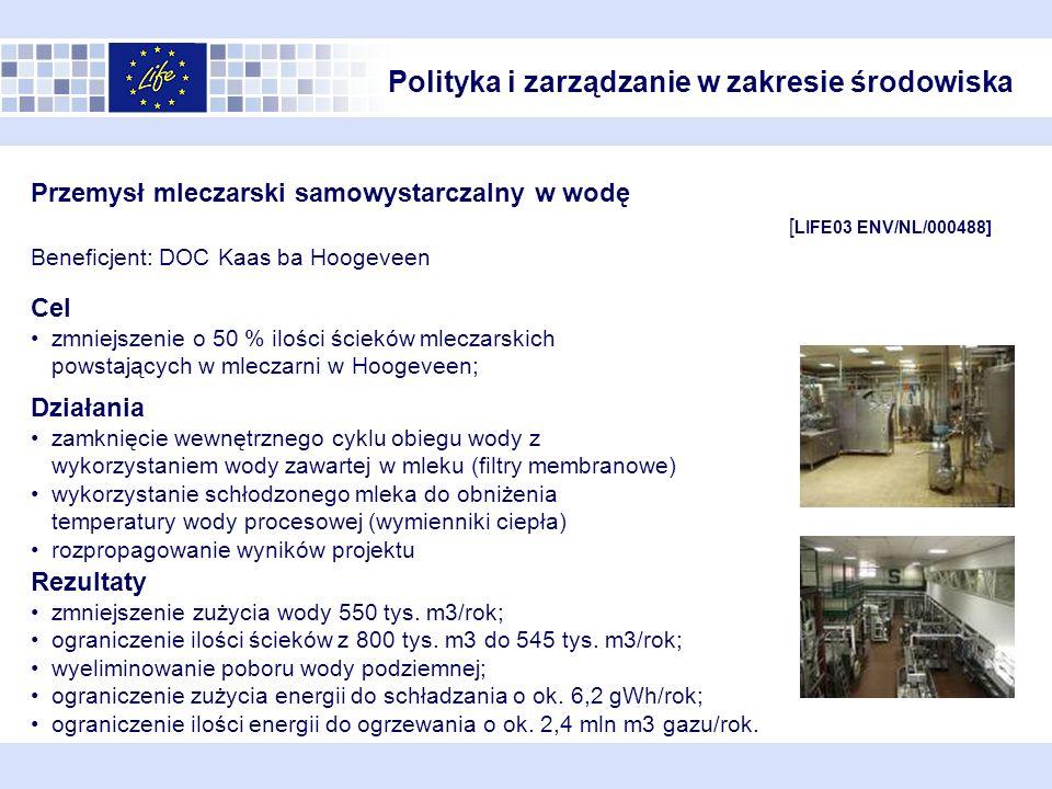 Przemysł mleczarski samowystarczalny w wodę [ LIFE03 ENV/NL/000488] Beneficjent: DOC Kaas ba Hoogeveen Działania zamknięcie wewnętrznego cyklu obiegu