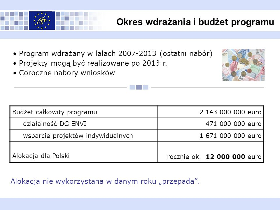 Okres wdrażania i budżet programu Program wdrażany w lalach 2007-2013 (ostatni nabór) Projekty mogą być realizowane po 2013 r. Coroczne nabory wnioskó