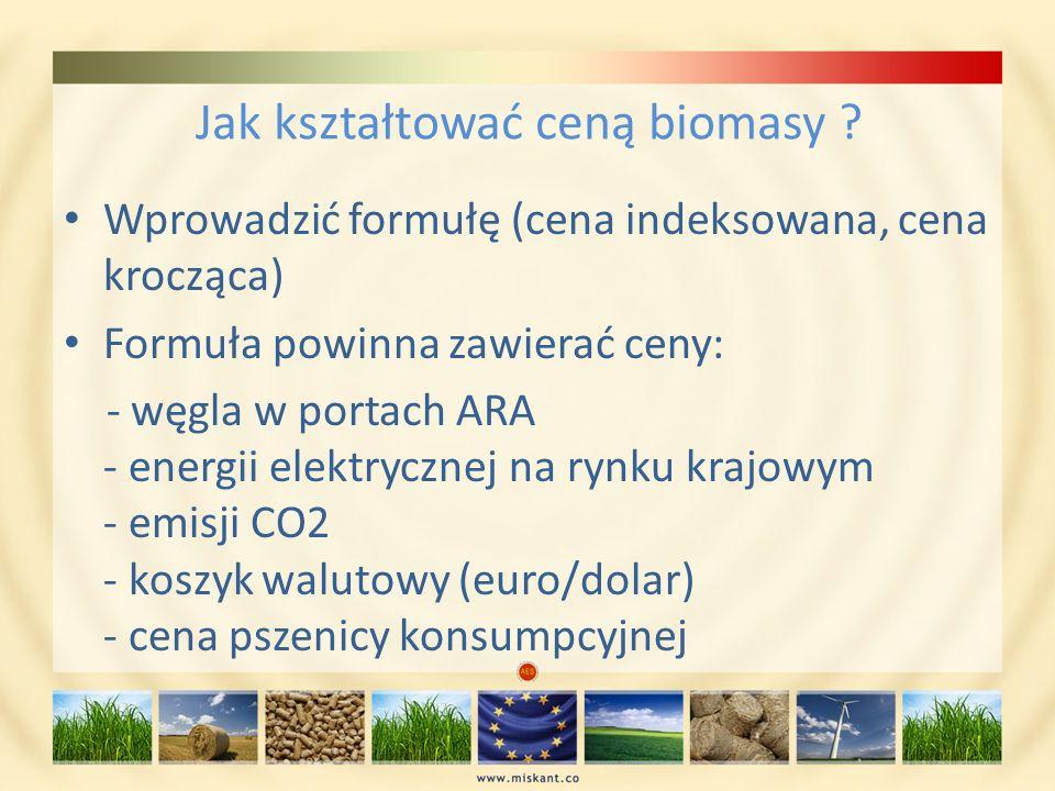 Jak kształtować ceną biomasy ? Wprowadzić formułę (cena indeksowana, cena krocząca) Formuła powinna zawierać ceny: - węgla w portach ARA - energii ele