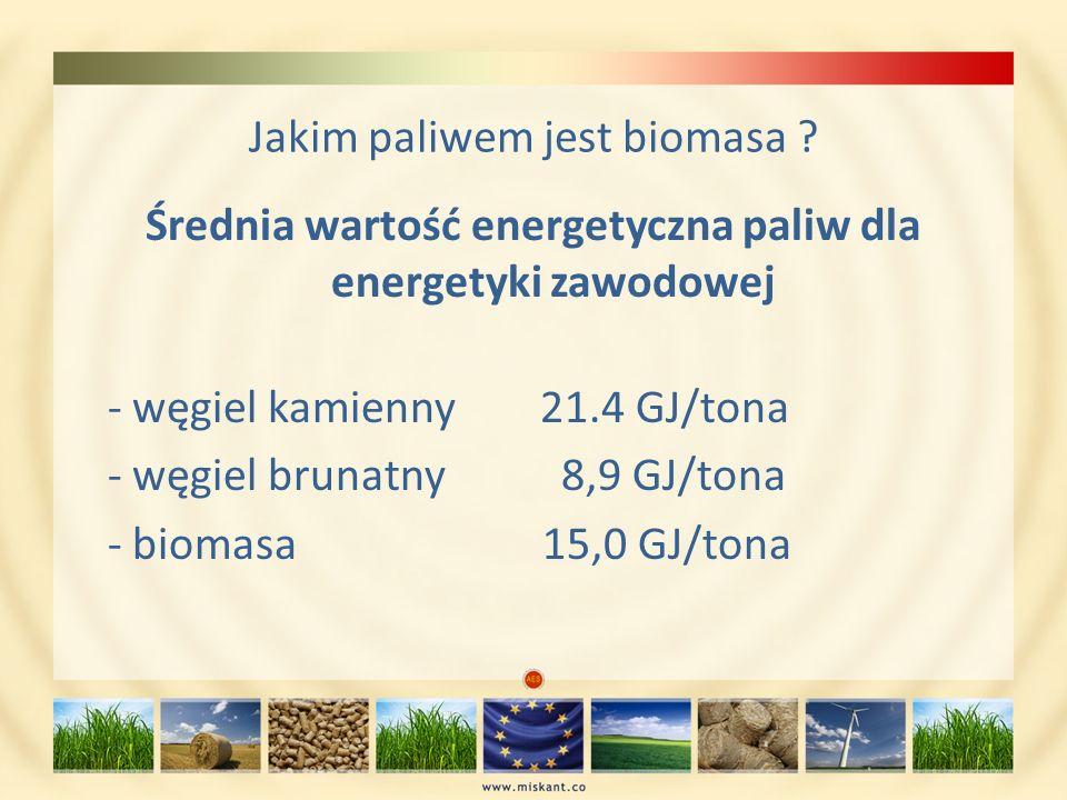 Jakim paliwem jest biomasa ? Średnia wartość energetyczna paliw dla energetyki zawodowej - węgiel kamienny 21.4 GJ/tona - węgiel brunatny 8,9 GJ/tona