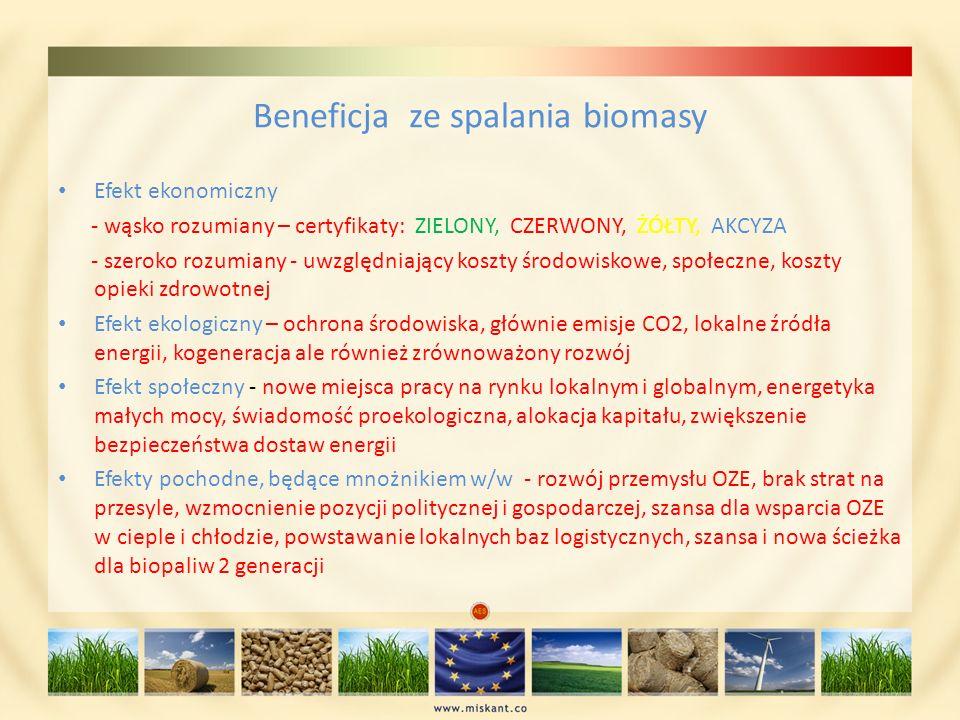 Beneficja ze spalania biomasy Efekt ekonomiczny - wąsko rozumiany – certyfikaty: ZIELONY, CZERWONY, ŻÓŁTY, AKCYZA - szeroko rozumiany - uwzględniający