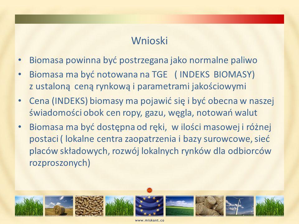 Wnioski Biomasa powinna być postrzegana jako normalne paliwo Biomasa ma być notowana na TGE ( INDEKS BIOMASY) z ustaloną ceną rynkową i parametrami ja