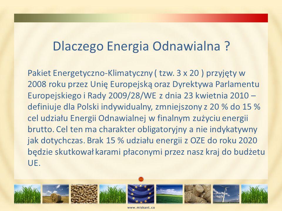Dlaczego Energia Odnawialna ? Pakiet Energetyczno-Klimatyczny ( tzw. 3 x 20 ) przyjęty w 2008 roku przez Unię Europejską oraz Dyrektywa Parlamentu Eur