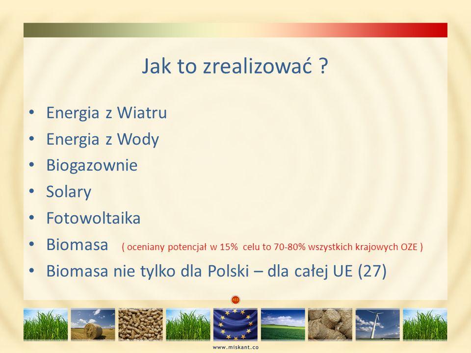 Jak to zrealizować ? Energia z Wiatru Energia z Wody Biogazownie Solary Fotowoltaika Biomasa ( oceniany potencjał w 15% celu to 70-80% wszystkich kraj