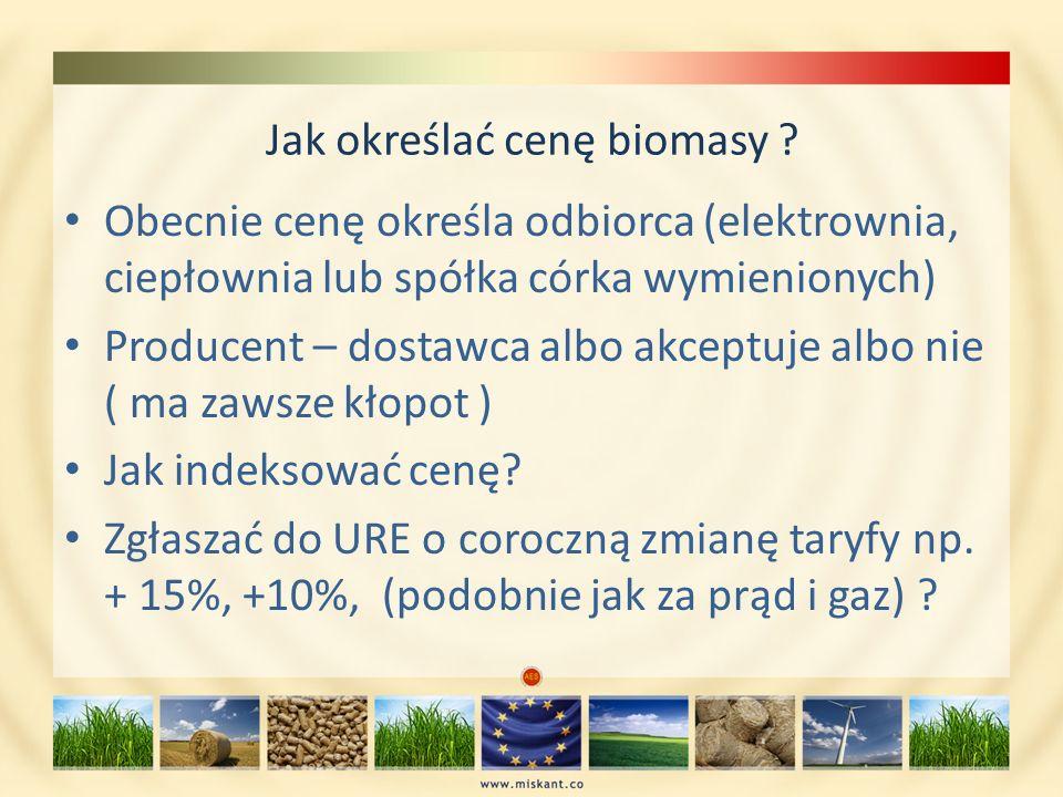 Jak określać cenę biomasy ? Obecnie cenę określa odbiorca (elektrownia, ciepłownia lub spółka córka wymienionych) Producent – dostawca albo akceptuje