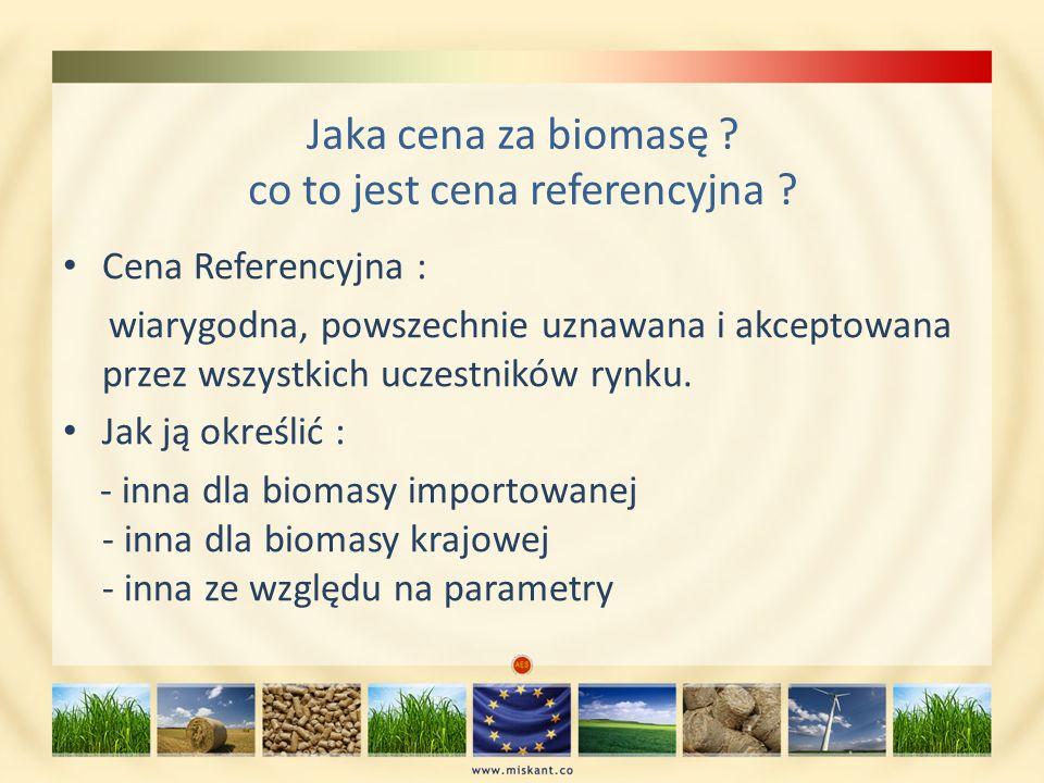 Jaka cena za biomasę ? co to jest cena referencyjna ? Cena Referencyjna : wiarygodna, powszechnie uznawana i akceptowana przez wszystkich uczestników