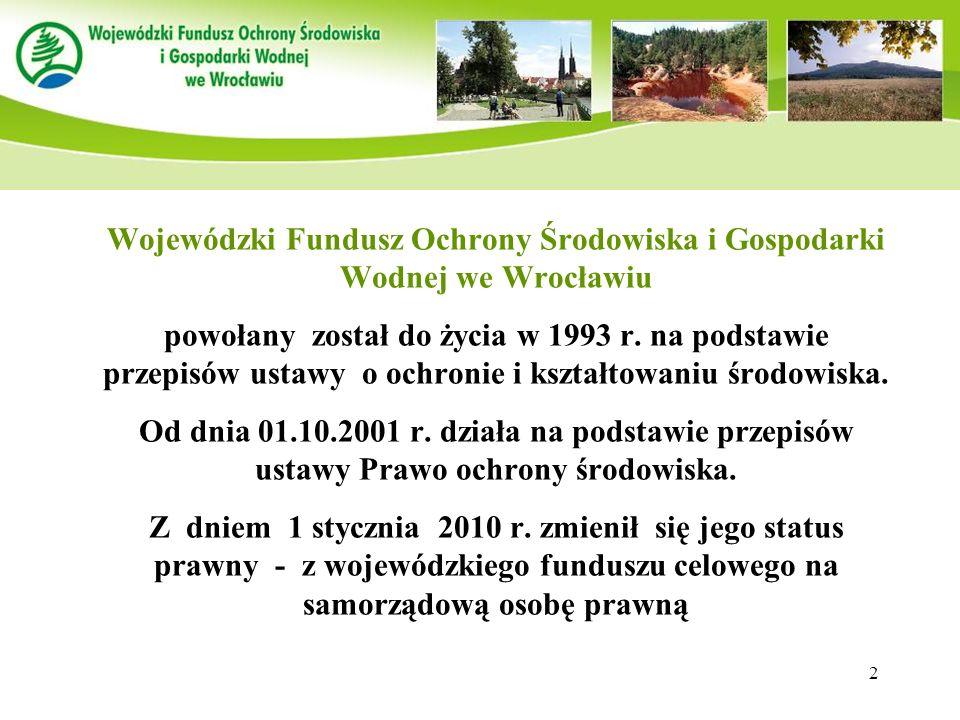 2 Wojewódzki Fundusz Ochrony Środowiska i Gospodarki Wodnej we Wrocławiu powołany został do życia w 1993 r. na podstawie przepisów ustawy o ochronie i