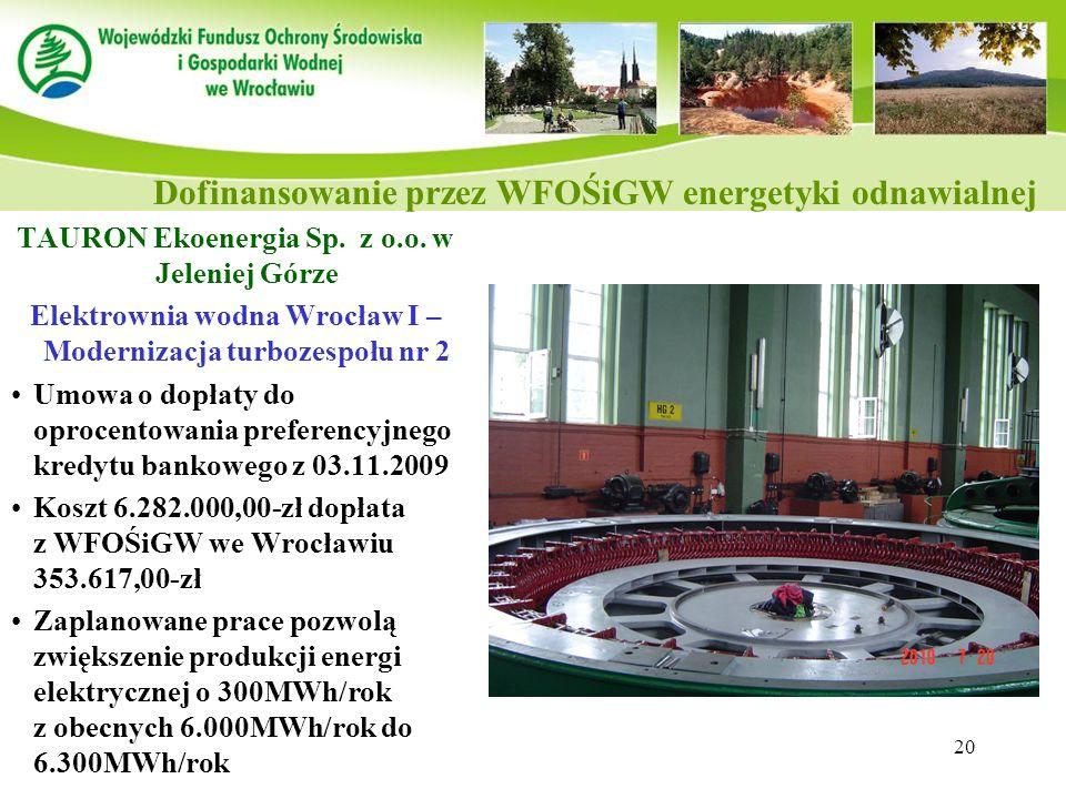 20 TAURON Ekoenergia Sp. z o.o. w Jeleniej Górze Elektrownia wodna Wrocław I – Modernizacja turbozespołu nr 2 Umowa o dopłaty do oprocentowania prefer