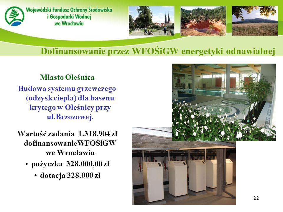 22 Miasto Oleśnica Budowa systemu grzewczego (odzysk ciepła) dla basenu krytego w Oleśnicy przy ul.Brzozowej. Wartość zadania 1.318.904 zł dofinansowa