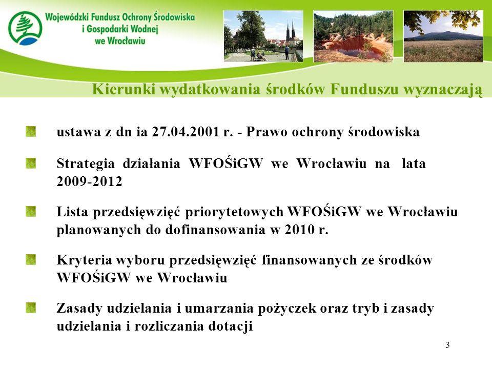 3 ustawa z dn ia 27.04.2001 r. - Prawo ochrony środowiska Strategia działania WFOŚiGW we Wrocławiu na lata 2009-2012 Lista przedsięwzięć priorytetowyc
