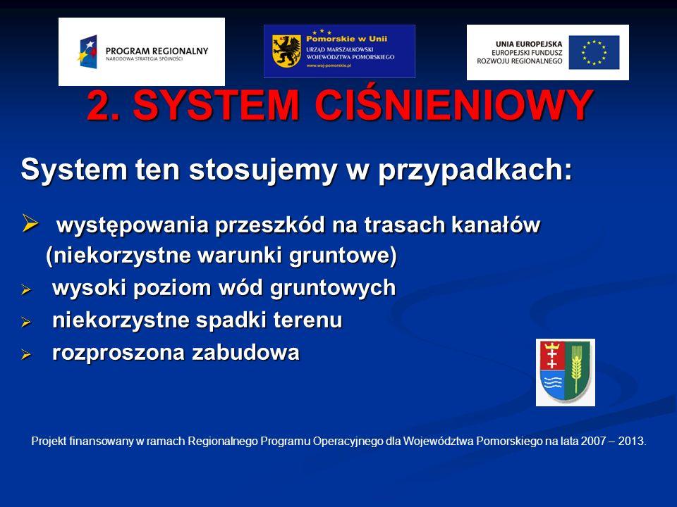 2. SYSTEM CIŚNIENIOWY System ten stosujemy w przypadkach: występowania przeszkód na trasach kanałów (niekorzystne warunki gruntowe) występowania przes