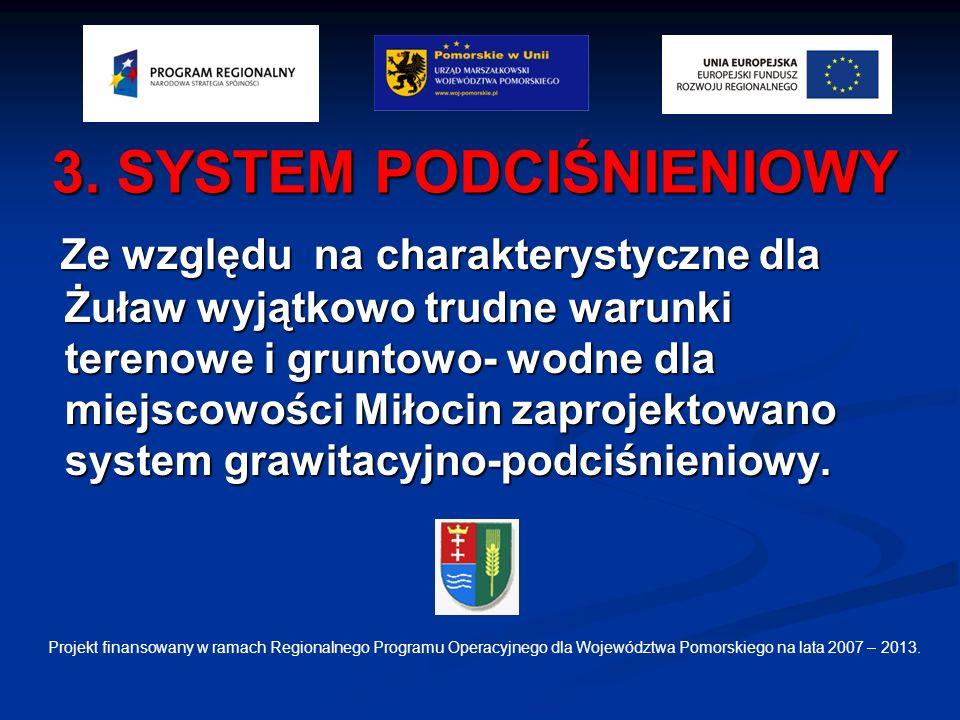 3. SYSTEM PODCIŚNIENIOWY Ze względu na charakterystyczne dla Żuław wyjątkowo trudne warunki terenowe i gruntowo- wodne dla miejscowości Miłocin zaproj