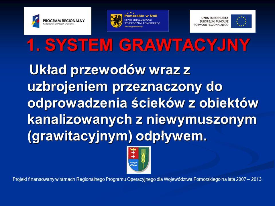1. SYSTEM GRAWTACYJNY Układ przewodów wraz z uzbrojeniem przeznaczony do odprowadzenia ścieków z obiektów kanalizowanych z niewymuszonym (grawitacyjny