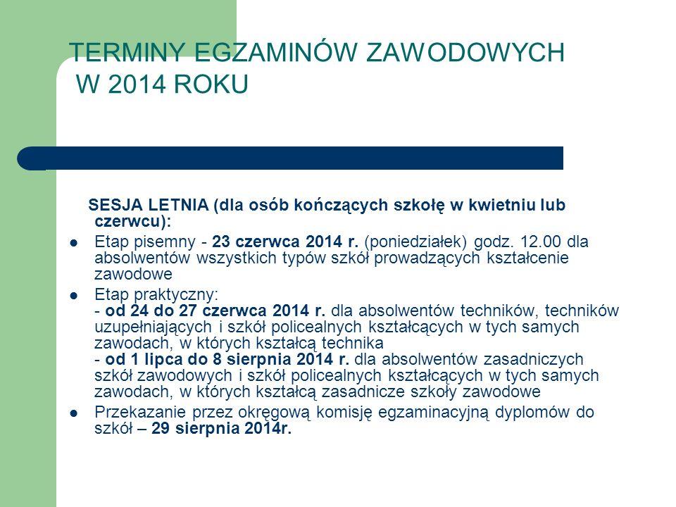 TERMINY EGZAMINÓW ZAWODOWYCH W 2014 ROKU SESJA LETNIA (dla osób kończących szkołę w kwietniu lub czerwcu): Etap pisemny - 23 czerwca 2014 r. (poniedzi