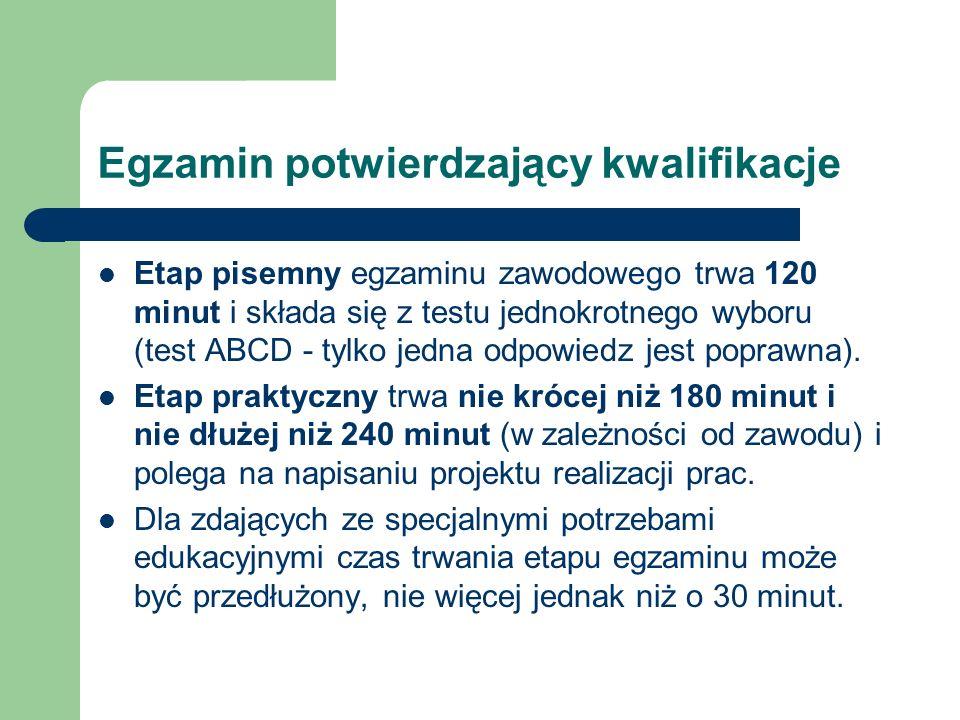 Egzamin potwierdzający kwalifikacje Etap pisemny egzaminu zawodowego trwa 120 minut i składa się z testu jednokrotnego wyboru (test ABCD - tylko jedna