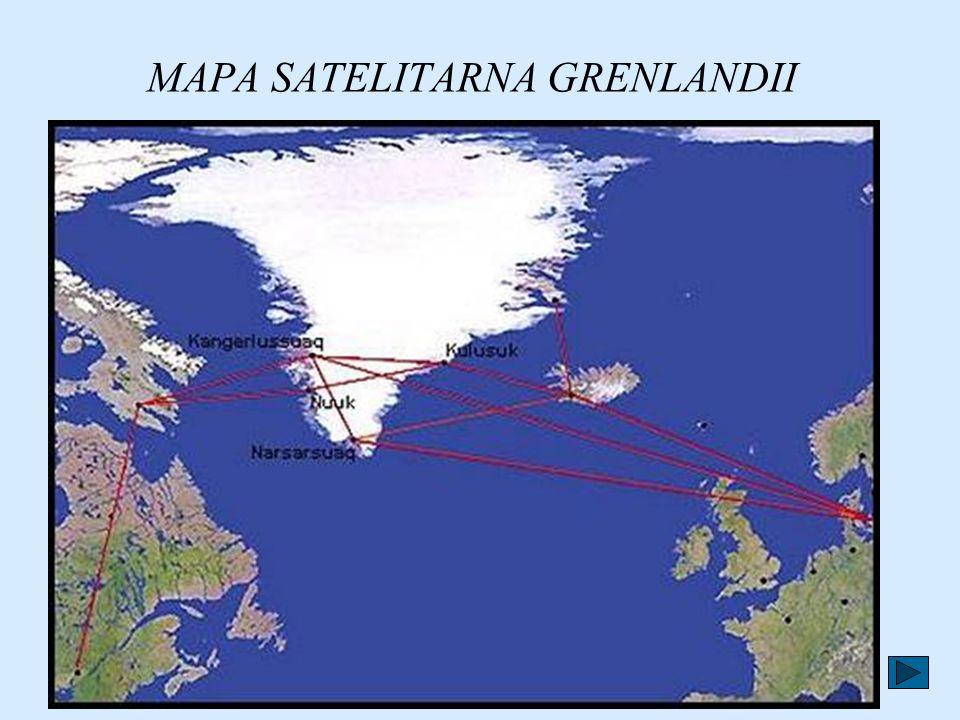 Grenlandia położona jest 700 km od bieguna północnego. Jej powierzchnia jest 6 razy większa od powierzchni Polski.Pokrywa ją lód, który pośrodku wyspy