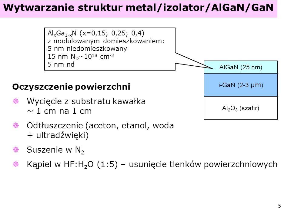 6 Wytwarzanie struktur Wytwarzanie ultracienkiej warstwy Al 2 O 3 - proces w komorze MBE proces w plazmie N (300°C, 10 min) naniesienie 1-2 nm Al wygrzanie w próżni (700°C, 10 min) GaN AlGaN Al 2 O 3 (szafir) Al 2 O 3 AlGaN wakancja azotowa tlen rodniki azotowe N2N2 Al