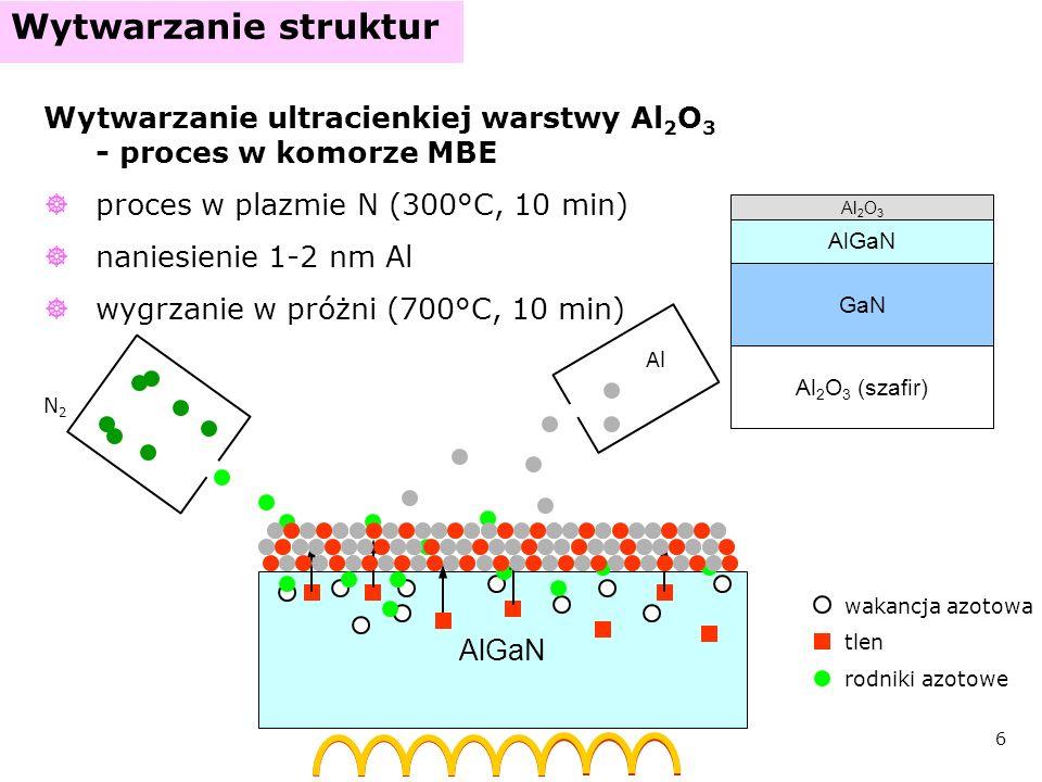 7 Wytwarzanie struktur Nanoszenie związków krzemu SiO 2 metodą PE-CVD SiN x metodą ECR-CVD SiO 2 albo SiN x GaN AlGaN Al 2 O 3 (szafir) Al 2 O 3 SiH 4 N2ON2O grubość: 10-30 nm N2N2 RF HV PE-CVD RF ECR-CVD