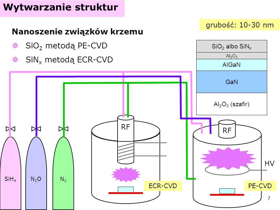 8 Wytwarzanie struktur Nanoszenie kontaktu omowego – fotolitografia naniesienie fotorezystu (SPR6809) naświetlenie przez maskę (lampa rtęciowa) utrwalenie (MF-CD-26 i wygrzanie) mokre trawienie izolatora (BHF, HF) naniesienie warstw metali (Ti/Al/Ti/Au) usunięcie fotorezystu (aceton) – lift-off wygrzanie kontaktu (N 2, 800 ° C, 1 min) GaN AlGaN Al 2 O 3 (szafir) izolator SPR maska kontakt omowy