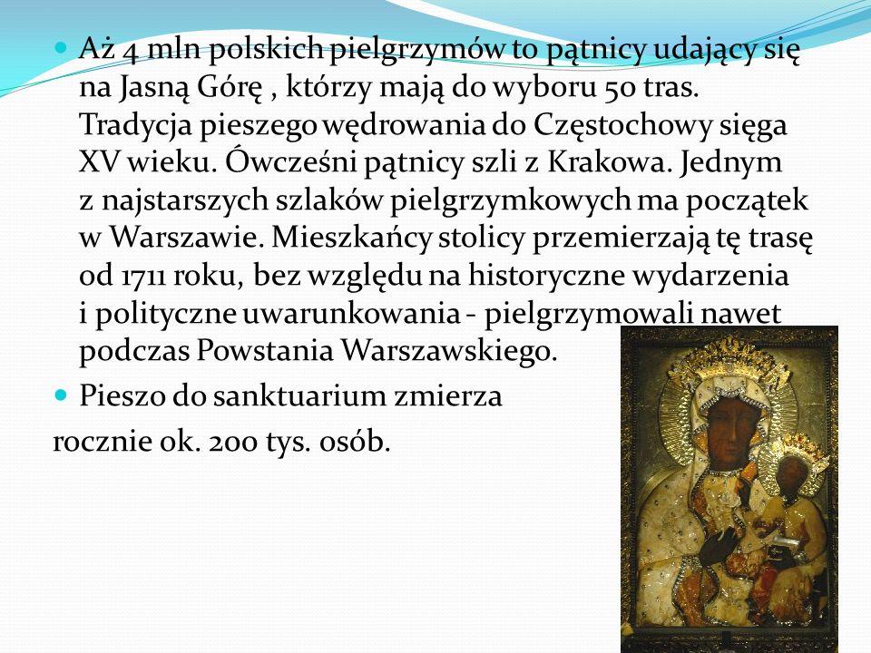Aż 4 mln polskich pielgrzymów to pątnicy udający się na Jasną Górę, którzy mają do wyboru 50 tras. Tradycja pieszego wędrowania do Częstochowy sięga X