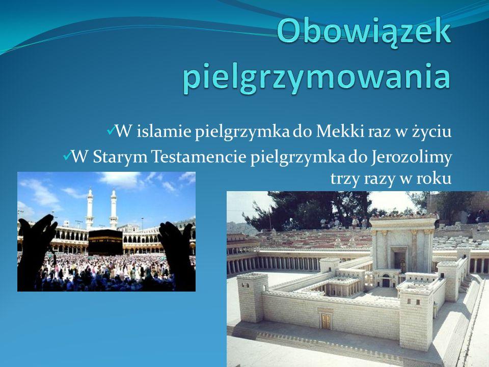 W islamie pielgrzymka do Mekki raz w życiu W Starym Testamencie pielgrzymka do Jerozolimy trzy razy w roku