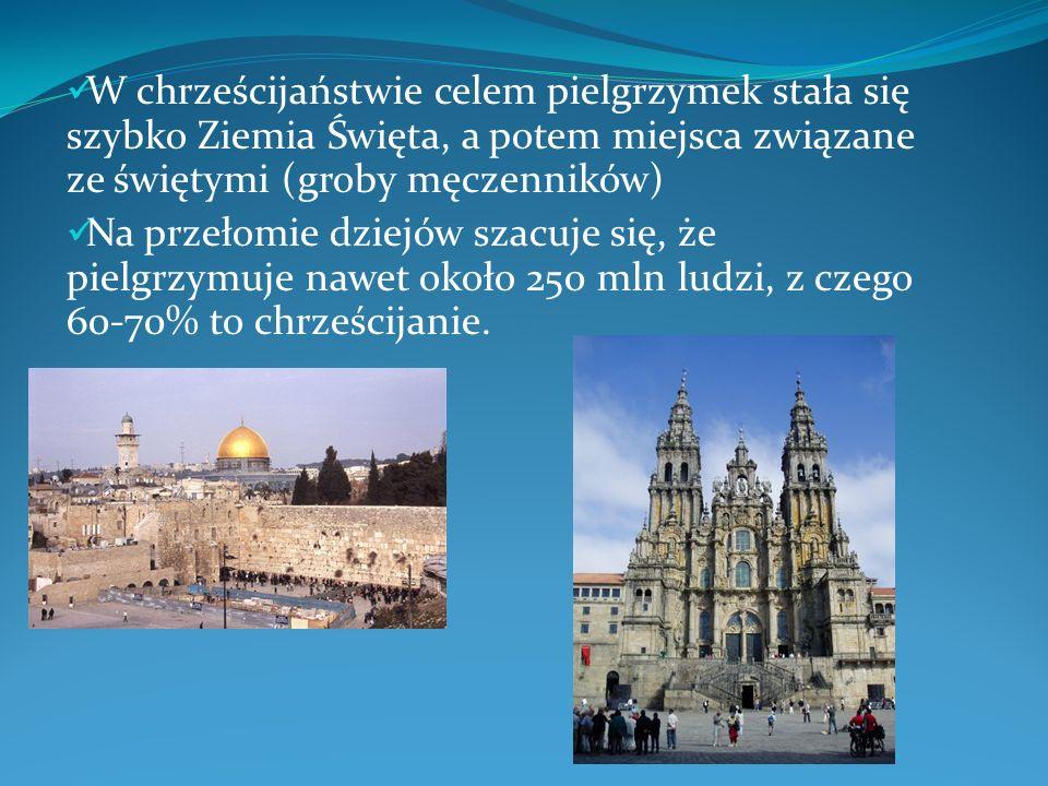 W chrześcijaństwie celem pielgrzymek stała się szybko Ziemia Święta, a potem miejsca związane ze świętymi (groby męczenników) Na przełomie dziejów sza