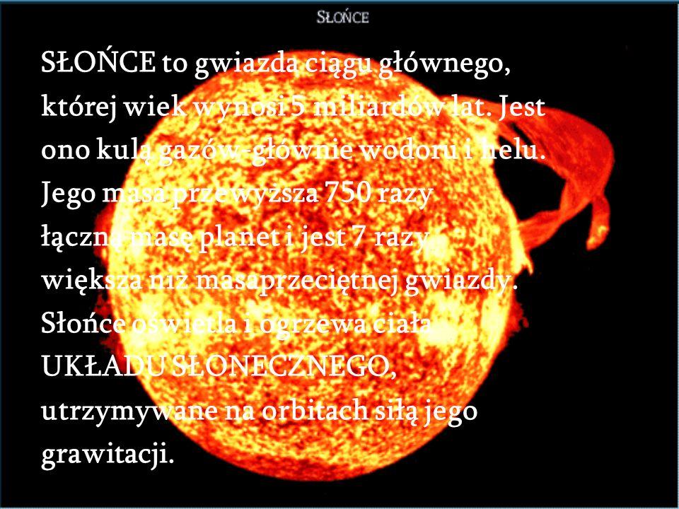 SŁOŃCE to gwiazda ciągu głównego, której wiek wynosi 5 miliardów lat.
