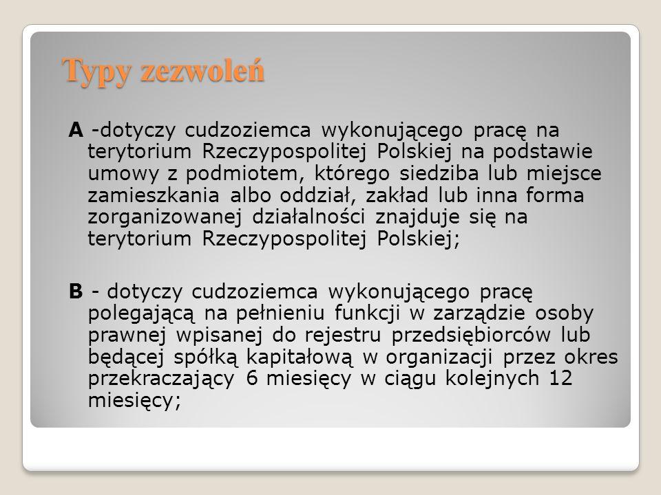 Typy zezwoleń A -dotyczy cudzoziemca wykonującego pracę na terytorium Rzeczypospolitej Polskiej na podstawie umowy z podmiotem, którego siedziba lub m