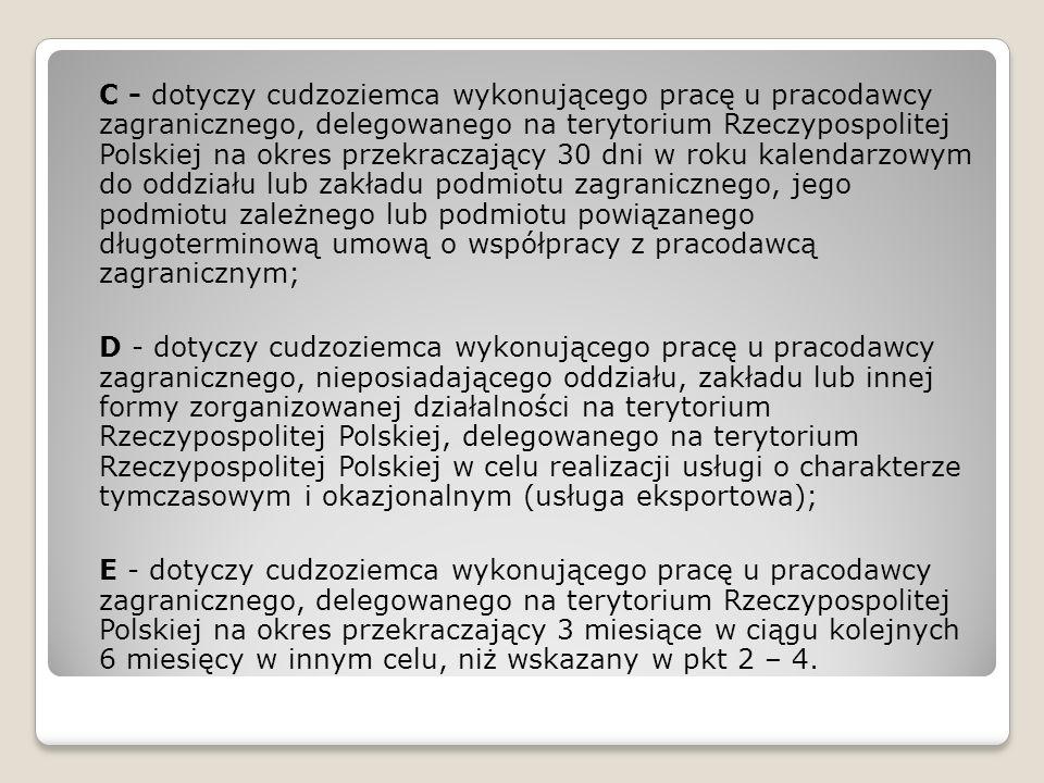 C - dotyczy cudzoziemca wykonującego pracę u pracodawcy zagranicznego, delegowanego na terytorium Rzeczypospolitej Polskiej na okres przekraczający 30