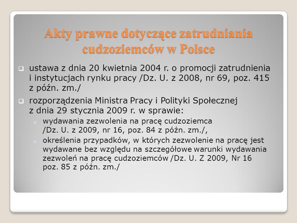 Akty prawne dotyczące zatrudniania cudzoziemców w Polsce ustawa z dnia 20 kwietnia 2004 r. o promocji zatrudnienia i instytucjach rynku pracy /Dz. U.