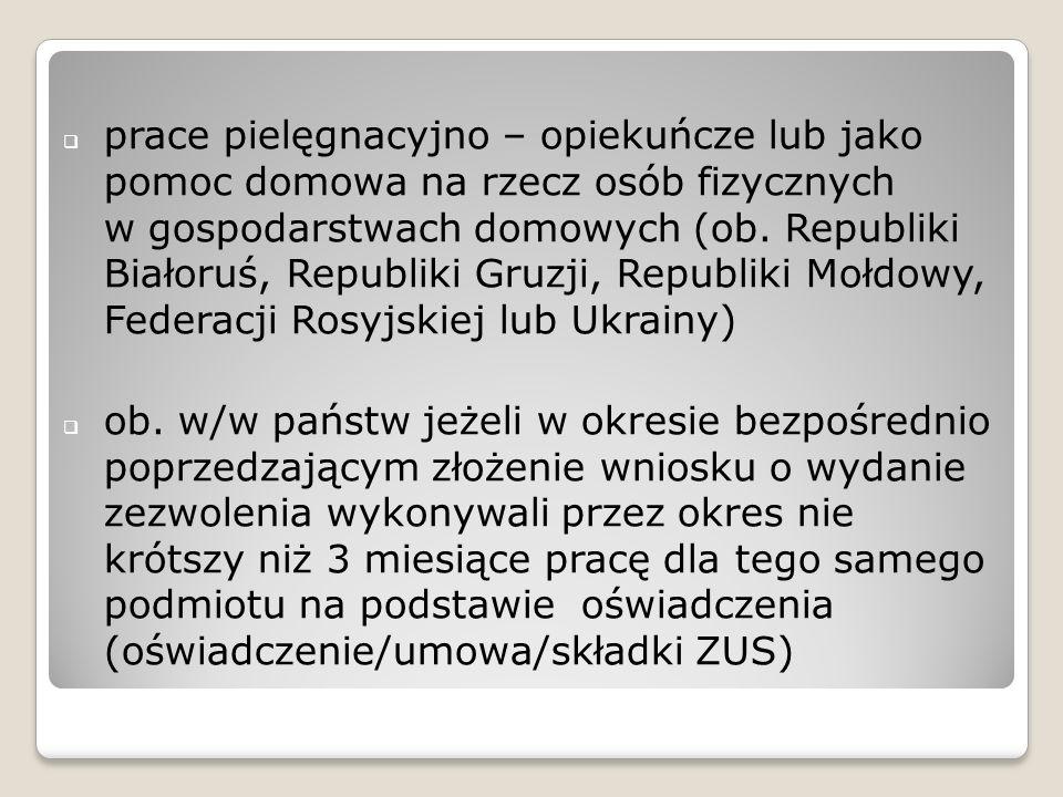 prace pielęgnacyjno – opiekuńcze lub jako pomoc domowa na rzecz osób fizycznych w gospodarstwach domowych (ob. Republiki Białoruś, Republiki Gruzji, R