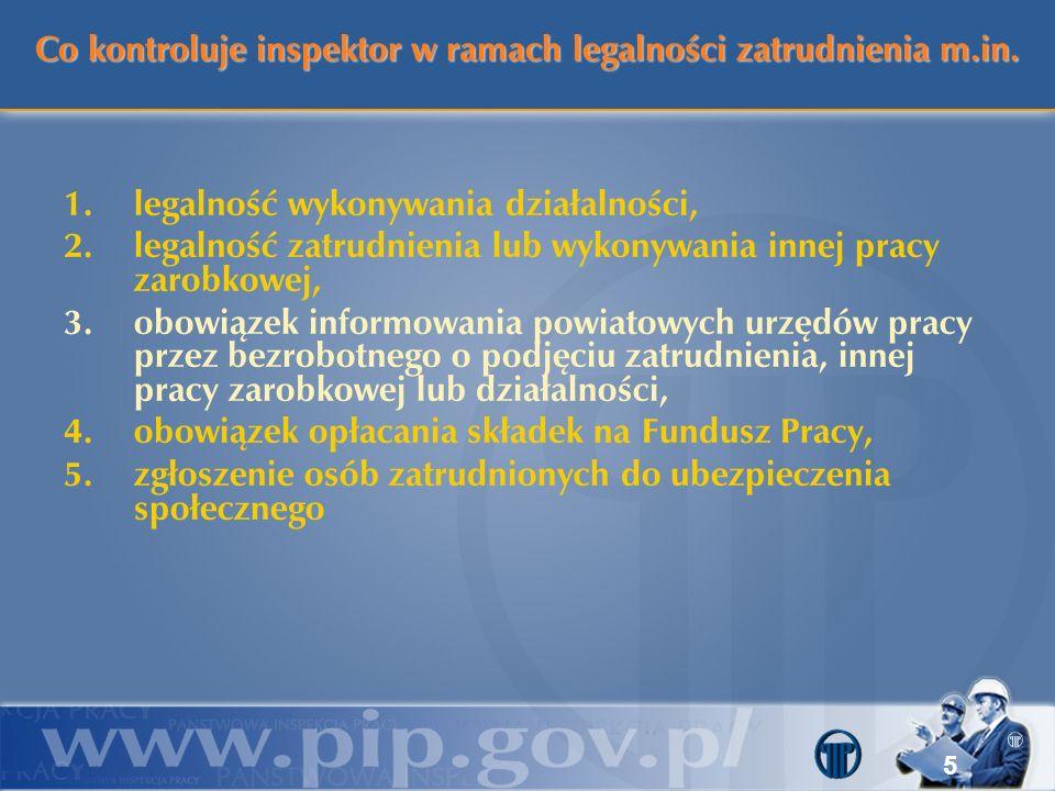 Co kontroluje inspektor w ramach legalności zatrudnienia m.in. 1.legalność wykonywania działalności, 2.legalność zatrudnienia lub wykonywania innej pr