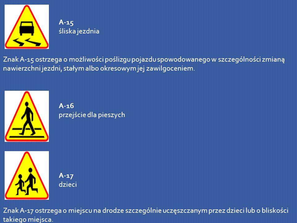 A-15 śliska jezdnia Znak A-15 ostrzega o możliwości poślizgu pojazdu spowodowanego w szczególności zmianą nawierzchni jezdni, stałym albo okresowym je