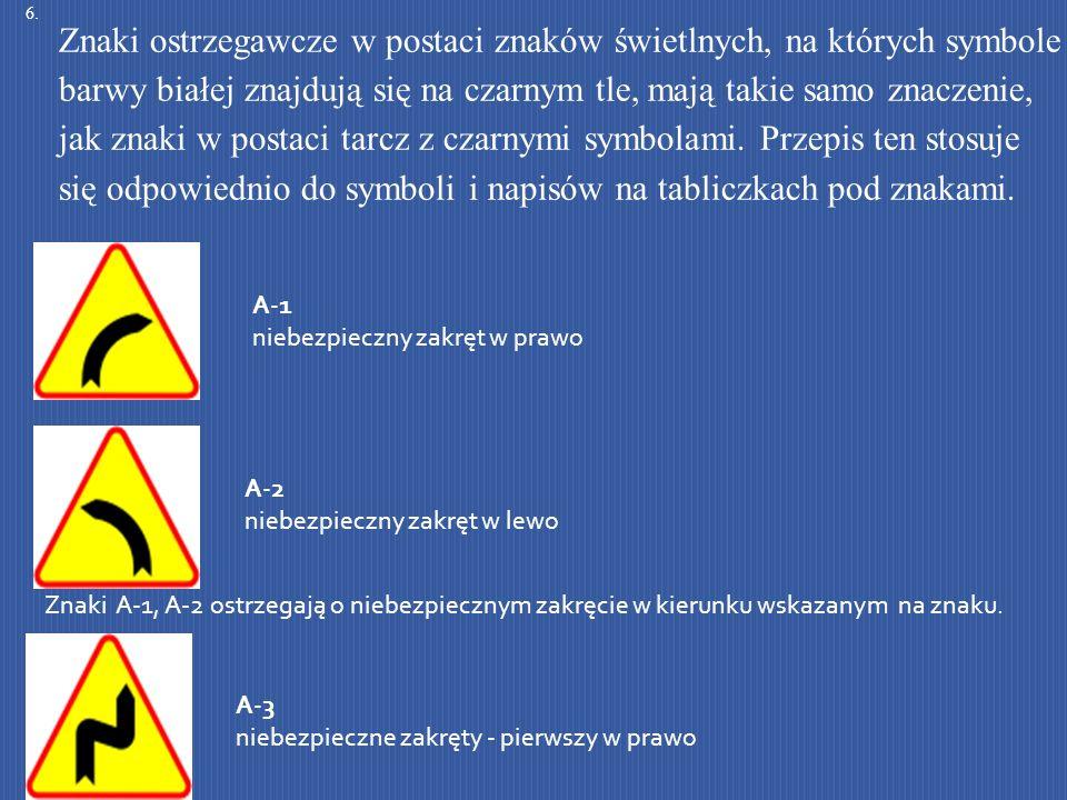 A-1 niebezpieczny zakręt w prawo A-2 niebezpieczny zakręt w lewo Znaki A-1, A-2 ostrzegają o niebezpiecznym zakręcie w kierunku wskazanym na znaku. A-