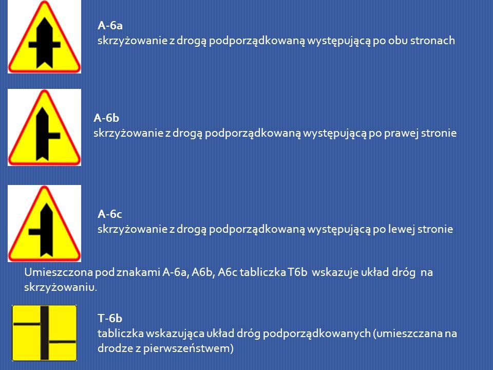 A-6a skrzyżowanie z drogą podporządkowaną występującą po obu stronach A-6b skrzyżowanie z drogą podporządkowaną występującą po prawej stronie A-6c skr