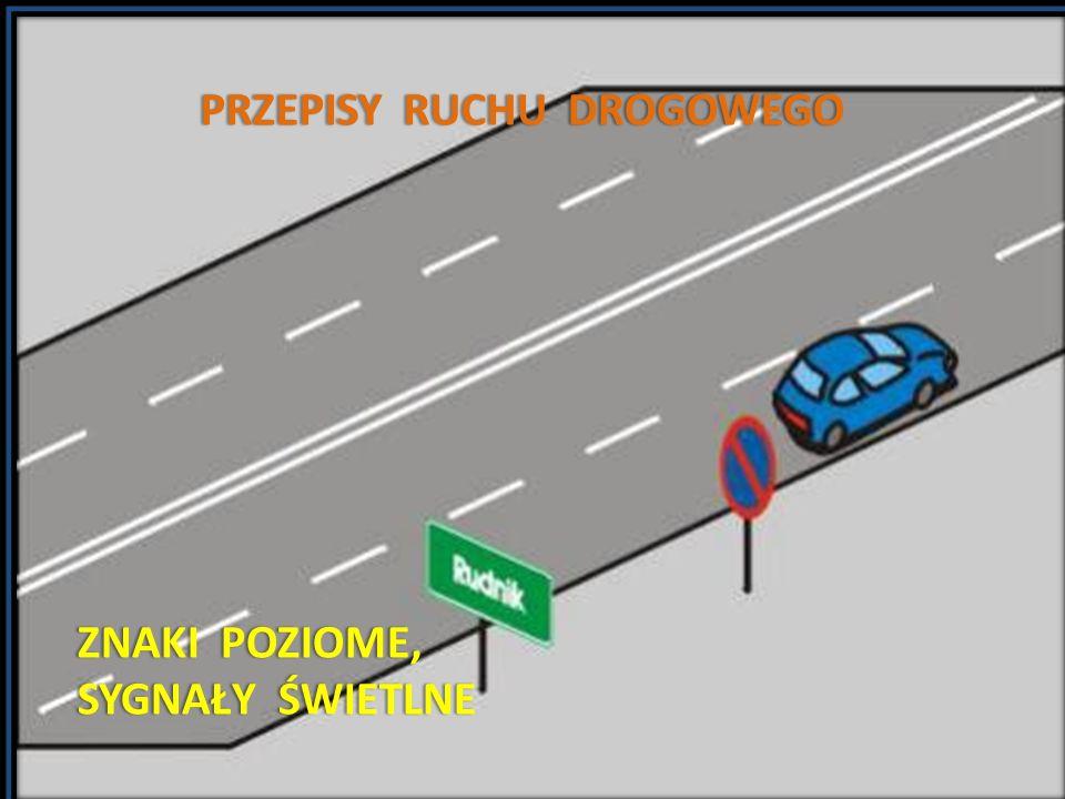 Z N A K I D R O G O W E P O Z I O M E RODZAJE ZNAKÓW: 1)Znakami drogowymi poziomymi są umieszczone na nawierzchni linie ciągle lub przerywane, pojedyncze lub podwójne, strzałki, napisy, symbole i inne linie związane z oznaczaniem określonych miejsc na drodze oraz punktowe elementy odblaskowe.