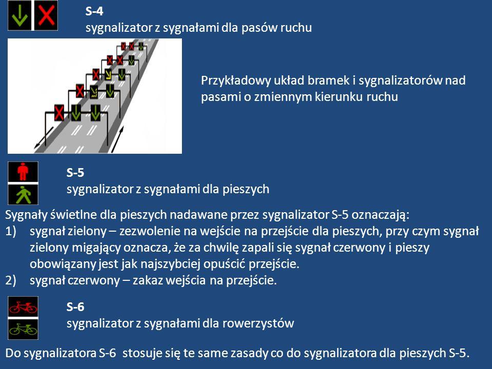 S-4 sygnalizator z sygnałami dla pasów ruchu Przykładowy układ bramek i sygnalizatorów nad pasami o zmiennym kierunku ruchu S-5 sygnalizator z sygnała