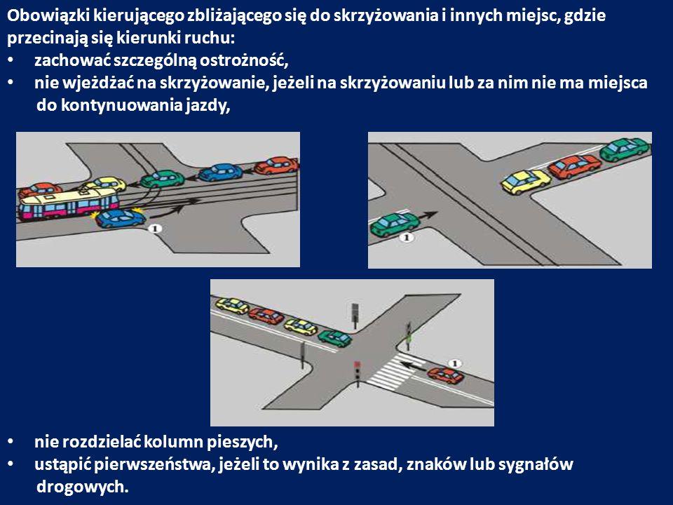 Obowiązki kierującego zbliżającego się do skrzyżowania i innych miejsc, gdzie przecinają się kierunki ruchu: zachować szczególną ostrożność, nie wjeżd